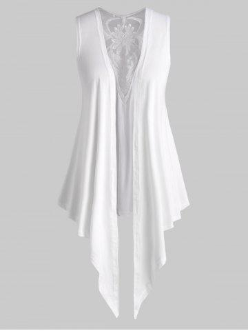 Mesh Panel Open Front Embroidered Plus Size Top
