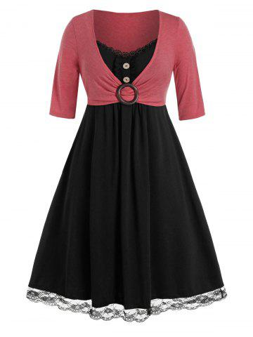 Plus Size Lace Insert O Ring Mock Button Twofer Dress