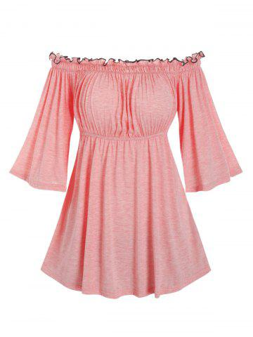 Off Shoulder Ruffled Trim Flare Sleeve Longline T Shirt - PINK - L
