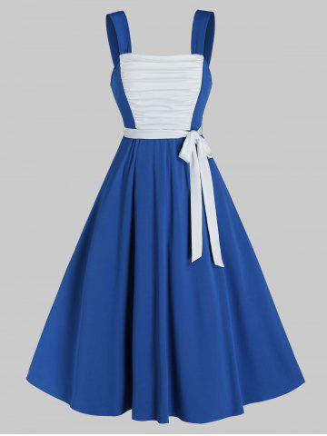 Sleeveless Ruched Front Contrast Belted Dress - COBALT BLUE - XL