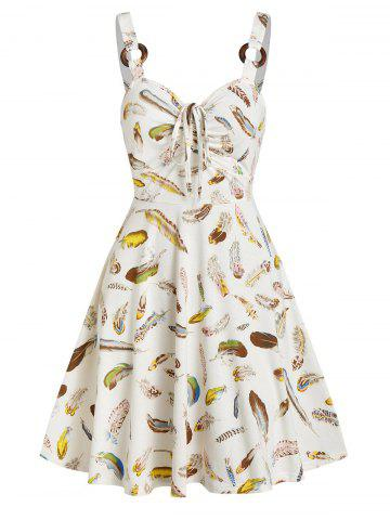 Feather Print O Ring Drawstring Mini Sundress
