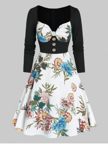 Floral Print Sweetheart Neck Button 2 In 1 A Line Dress - WHITE - XL