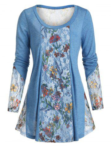 See Through Floral Lace Panel Long Sleeve T Shirt