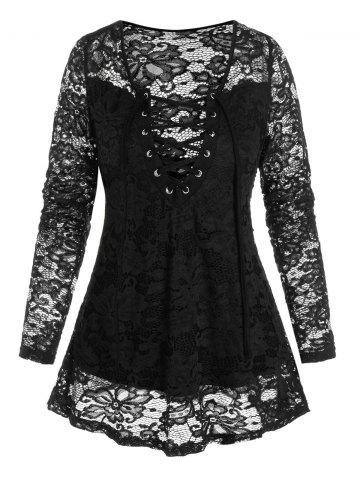 Lace-up Front Notched Flower Lace Top - BLACK - XL