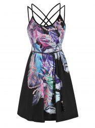 Strappy Feather Print Belted Dress -