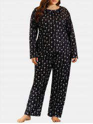 Plus Size Cups Print Long Sleeve PJ Set -