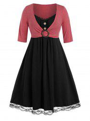 Plus Size Lace Insert O Ring Mock Button Twofer Dress -