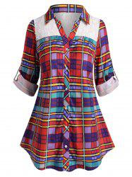 Plus Size Plaid Lace Insert Roll Up Sleeve Shirt -