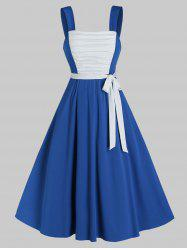 Sleeveless Ruched Front Contrast Belted Dress -