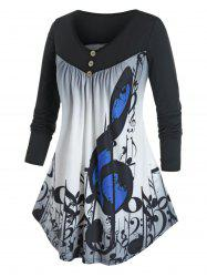 Plus Size Musical Notes Ombre Curved Hem Tunic Tee -