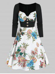 Floral Print Sweetheart Neck Button 2 In 1 A Line Dress -