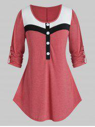 Plus Size Mock Button Roll Up Sleeve Colorblock T-shirt -
