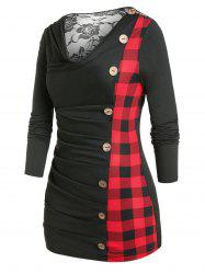 Plus Size Lace Panel Cowl Neck Ruched Checked Tunic Top -
