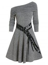 One Shoulder Belted Knitted Mini Dress -