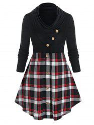 Plus Size Plaid Curved Ruched Long Sleeve Tunic Tee -