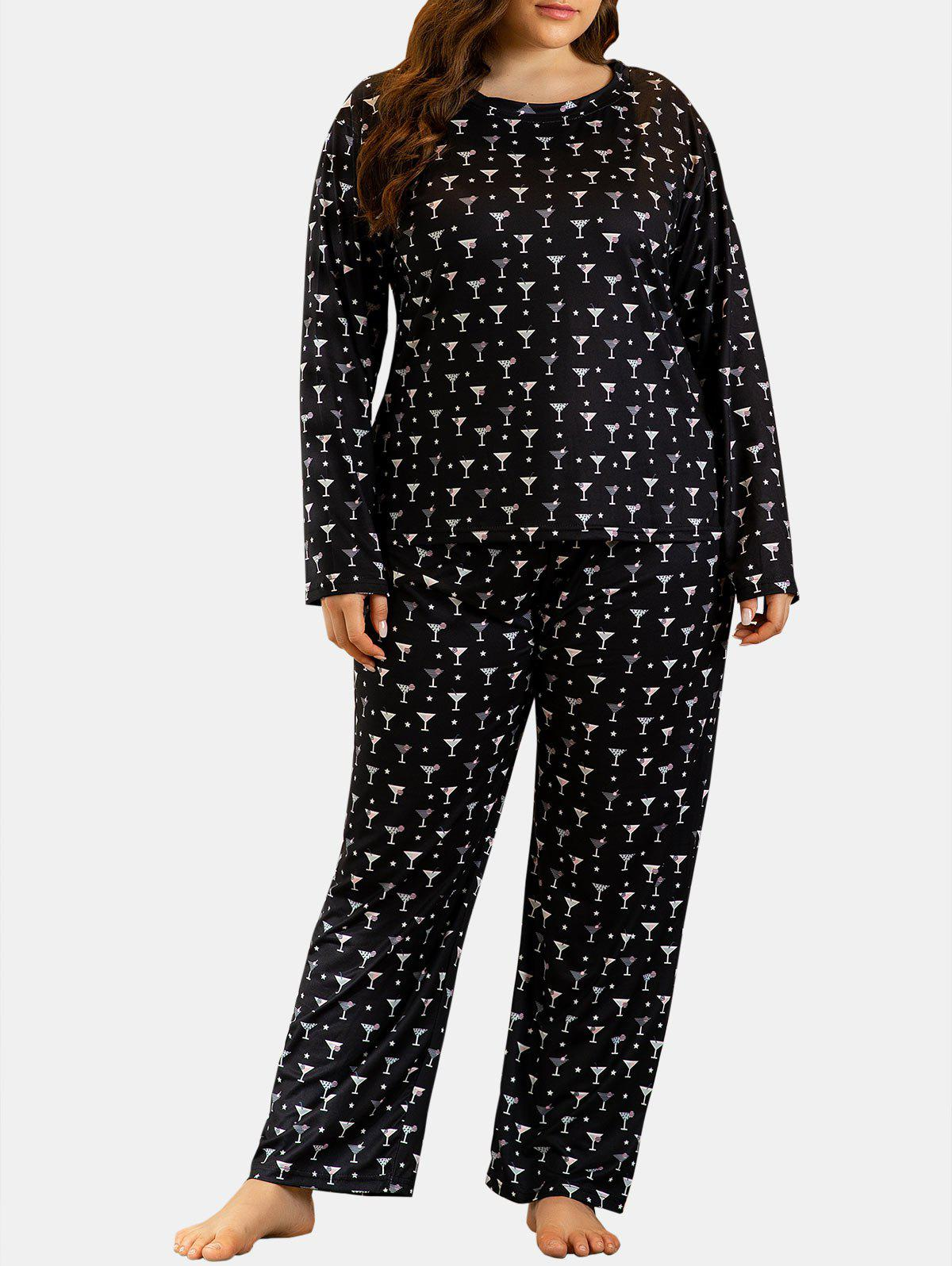Fashion Plus Size Cups Print Long Sleeve PJ Set