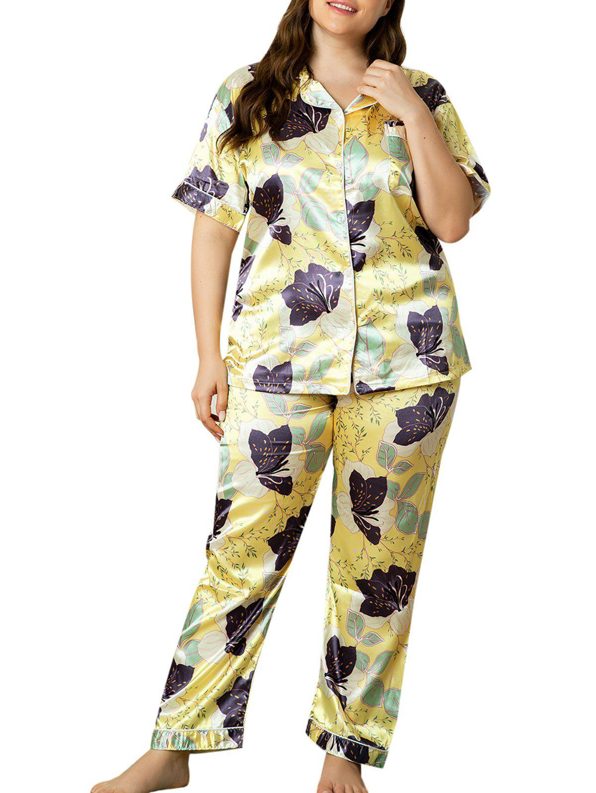 Outfits Plus Size Floral Leaf Silky Satin Pajama Set