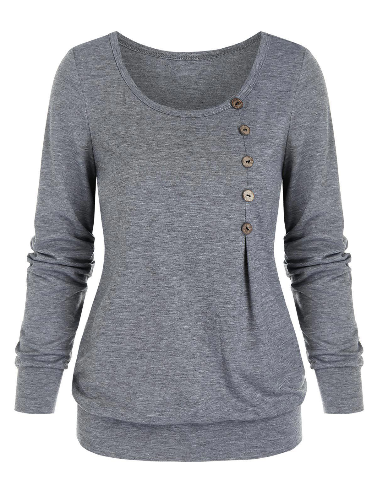 Outfit Heathered Mock Button Blouson T-shirt