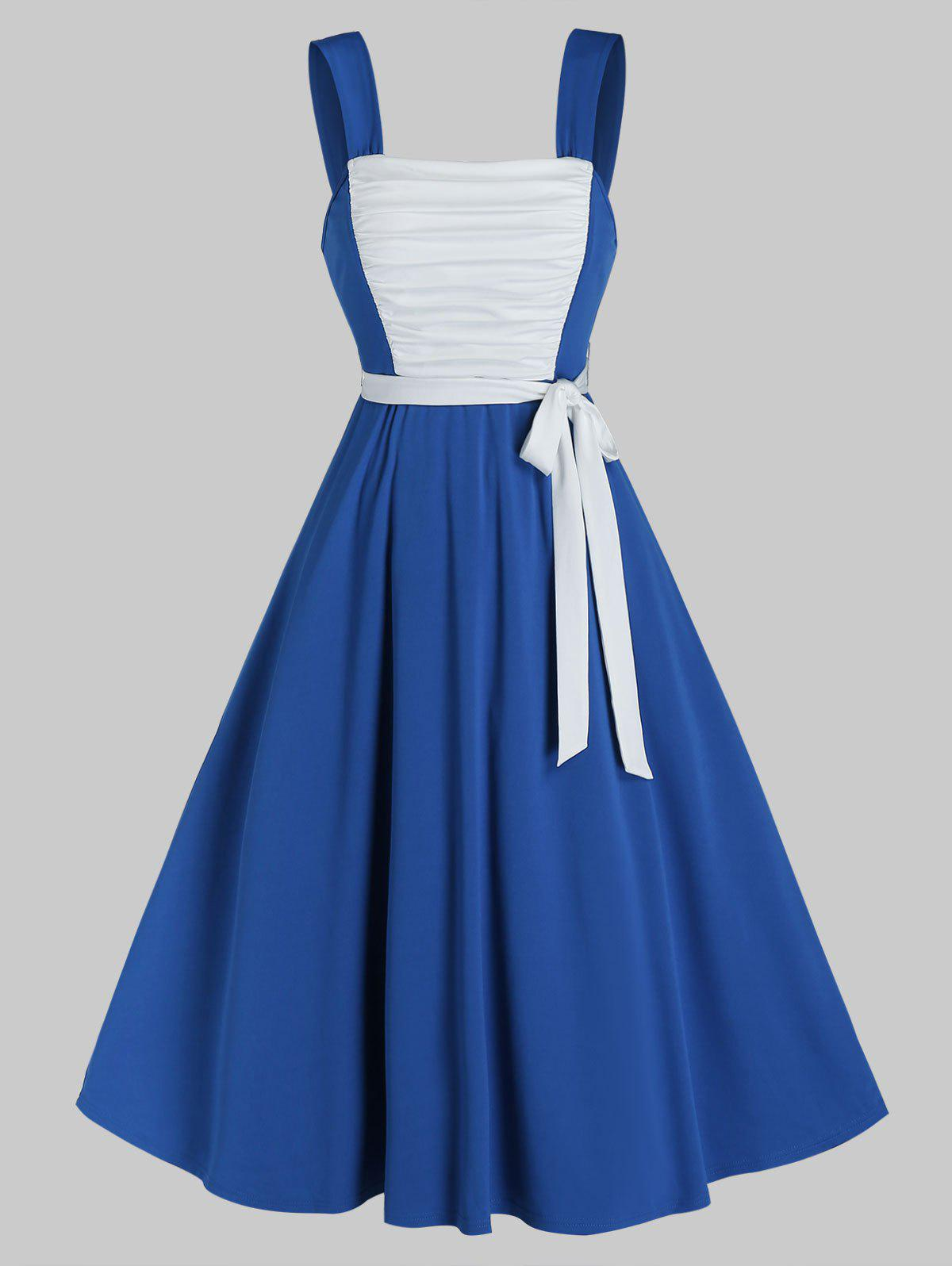 Cheap Sleeveless Ruched Front Contrast Belted Dress