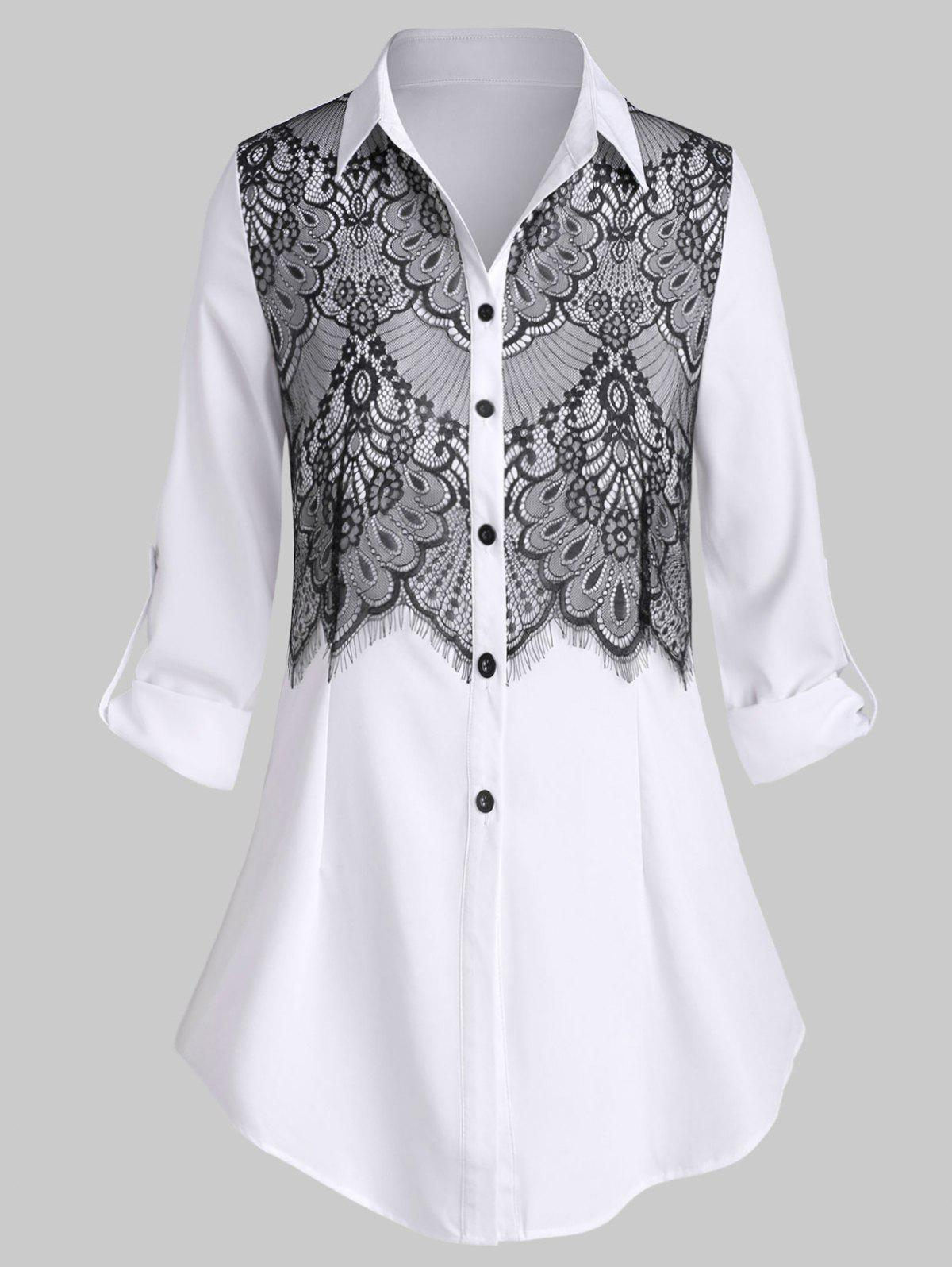 Outfit Plus Size Lace Insert Tunic Shirt