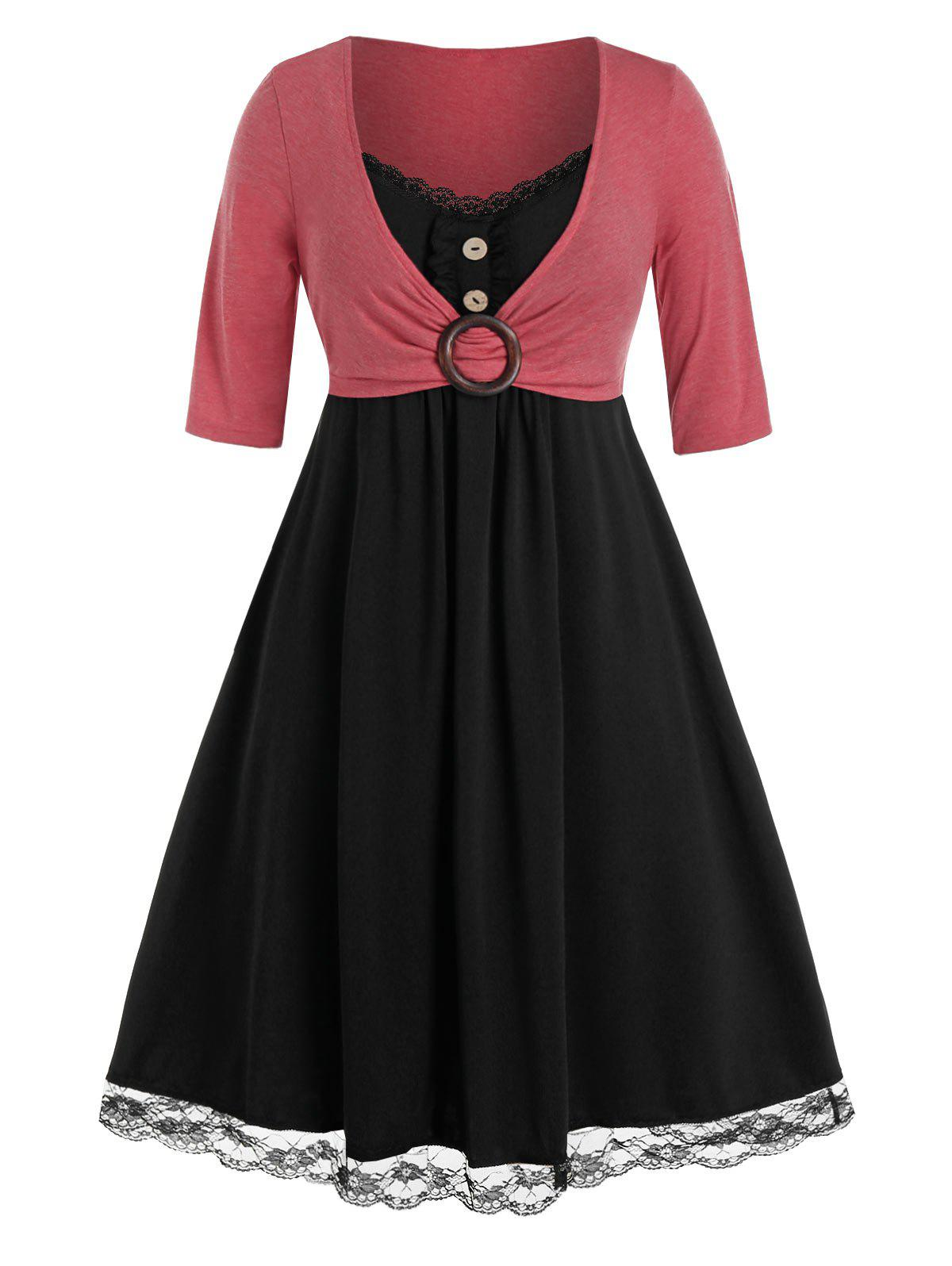 Hot Plus Size Lace Insert O Ring Mock Button Twofer Dress