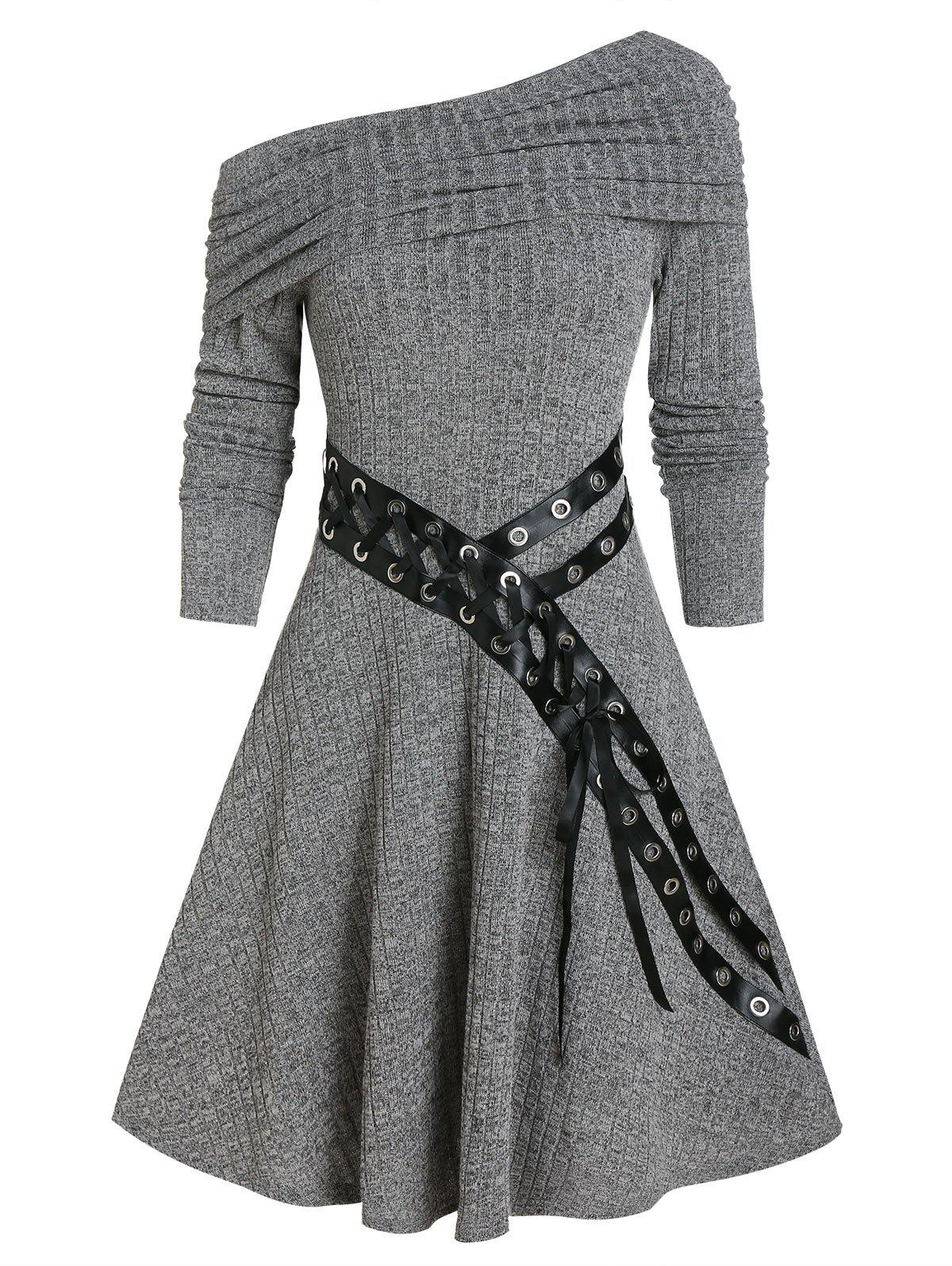Outfit One Shoulder Belted Knitted Mini Dress
