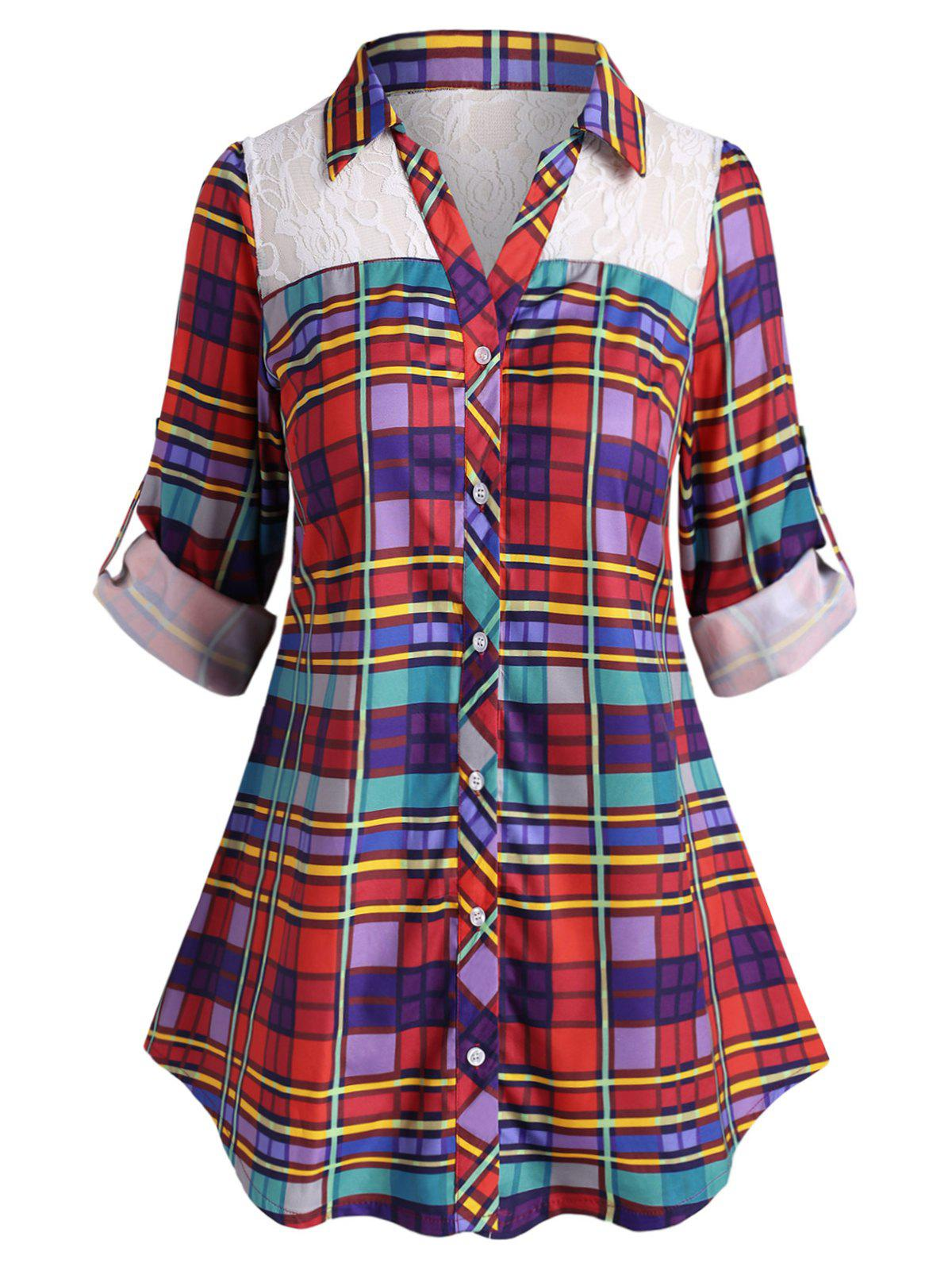 Latest Plus Size Plaid Lace Insert Roll Up Sleeve Shirt