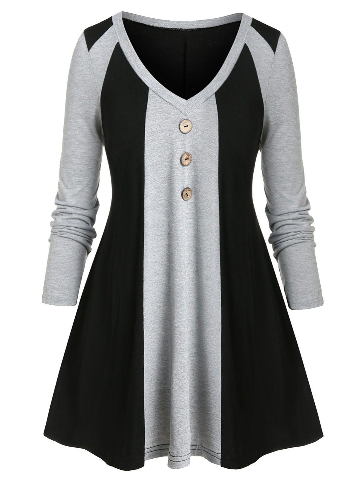 Outfit Plus Size Two-tone Button T-shirt