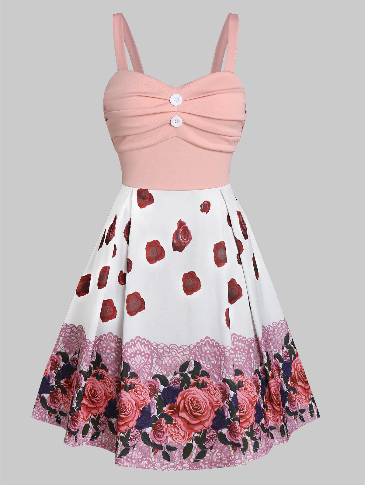 New Sleeveless Button Ruched Flower Print Dress