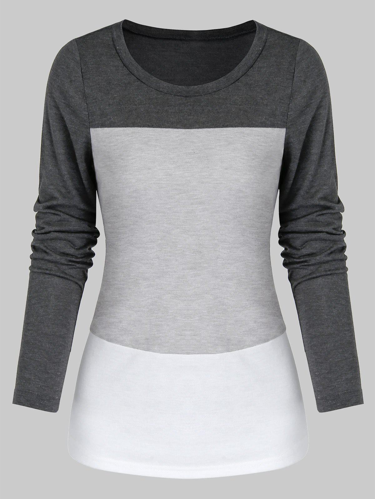 rosegal Contrast Long Sleeve Heathered T-shirt
