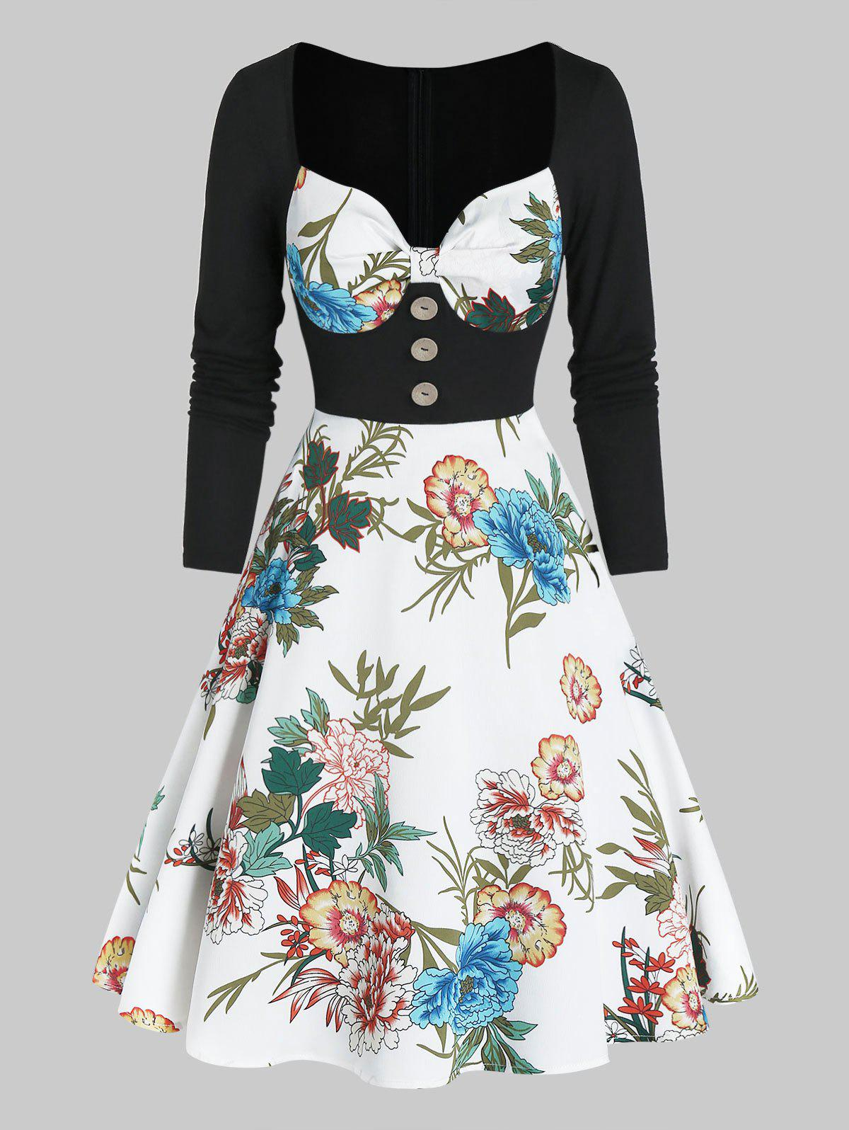 Outfit Floral Print Sweetheart Neck Button 2 In 1 A Line Dress