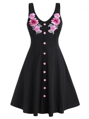 Plus Size Mock Button Floral Applique Dress - BLACK - 5X