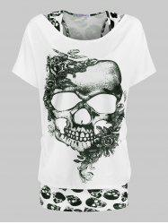 Plus Size Halloween Floral Skull T-shirt and Racerback Tank Top Set -