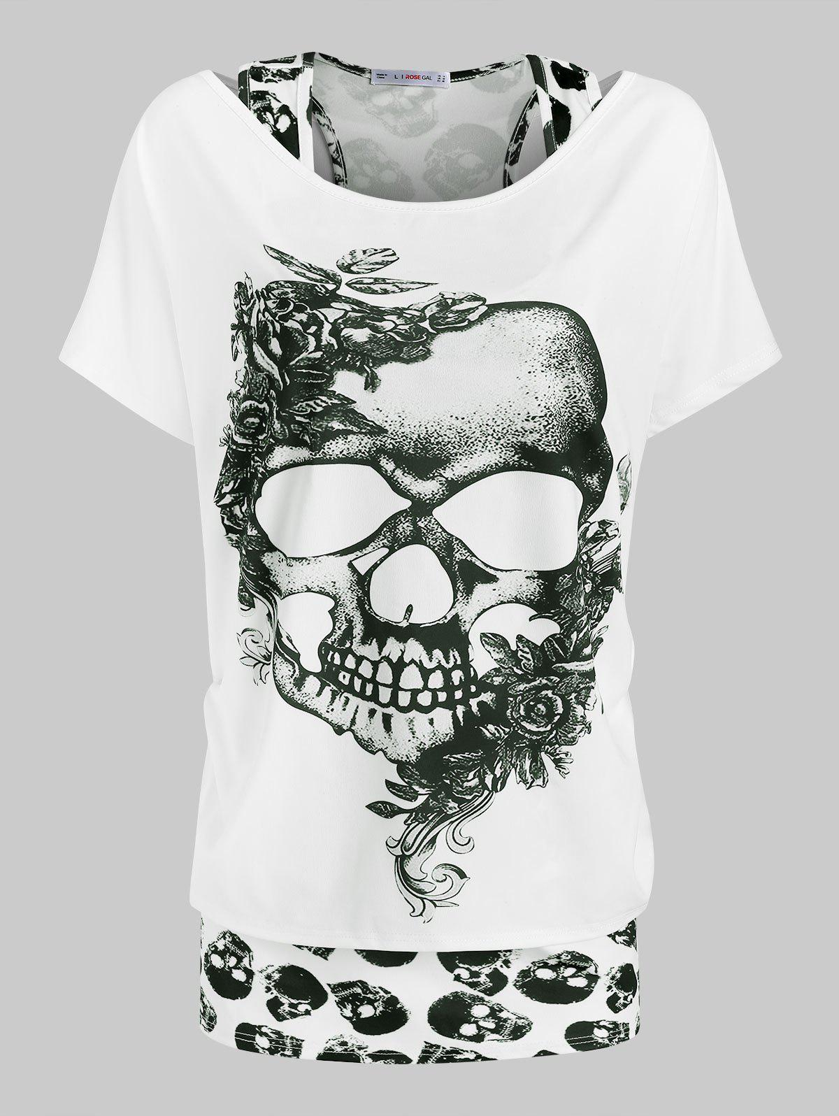 New Plus Size Halloween Floral Skull T-shirt and Racerback Tank Top Set