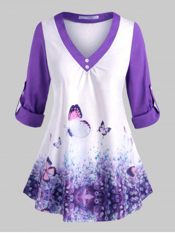 Plus Size Butterfly Print Roll Up Sleeve Top