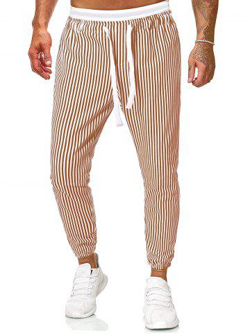 Vertical Striped Print Drawstring Casual Pants