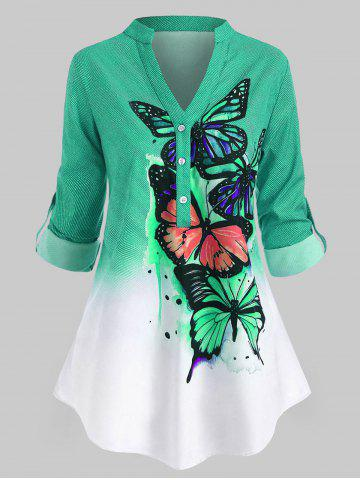 Plus Size Butterfly Print  Roll Up Sleeve Ombre Color Top - GREEN - 1X