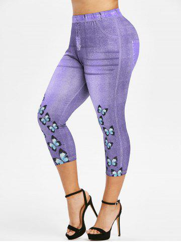 Plus Size 3D Denim Butterfly Print Capri High Rise Jeggings - PURPLE - 2X