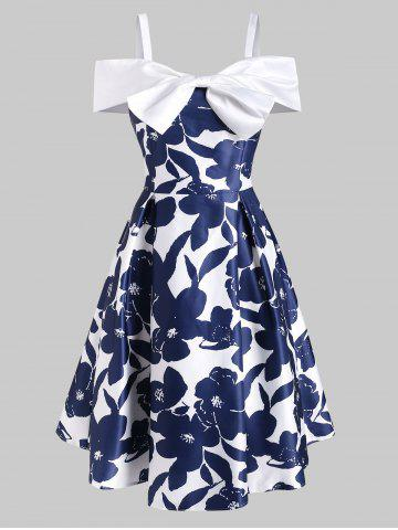 Foldover Bowknot Cold Shoulder Dress