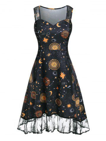Lace Insert Sun Moon Star Print Lace-up Dress
