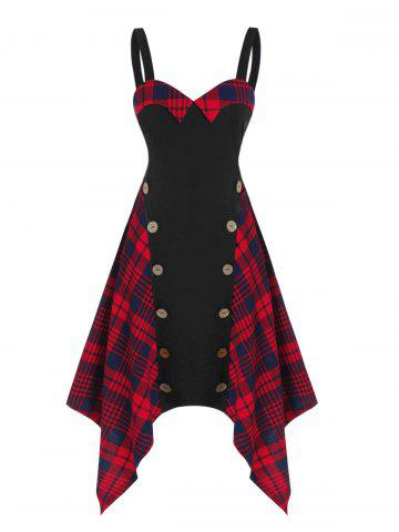 Plaid Panel Mock Button Asymmetrical Cami Dress