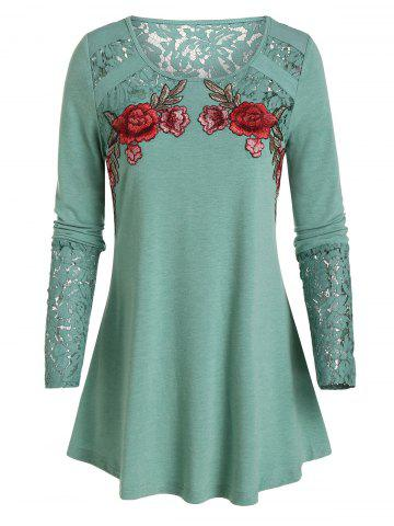 Lace Panel Flower Embroidery T-shirt - SEA GREEN - 3XL