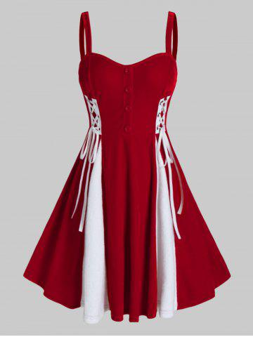 Plus Size Patchwork Velour Fit And Flare Dress - RED - L