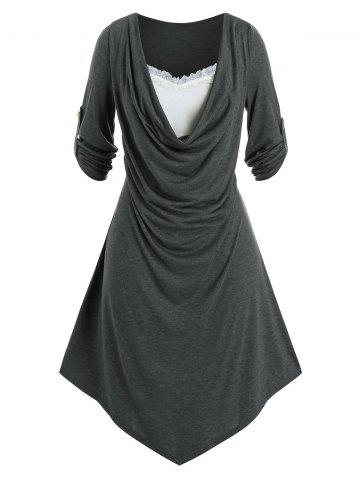 Plus Size Draped Front Roll Tab Sleeve Uneven Hem Dress