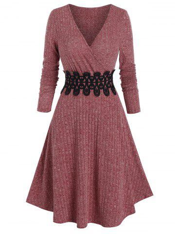 Ribbed Applique A Line Wrap Knitted Dress - DEEP RED - 2XL