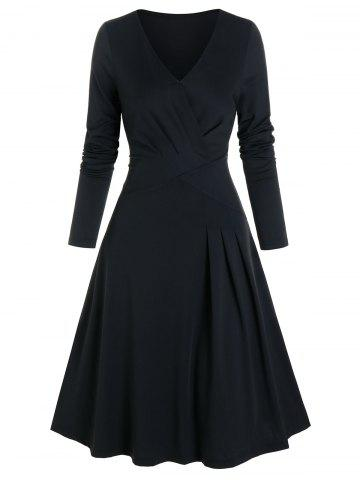 Pleated Wrap Fit And Flare Dress - BLACK - 3XL