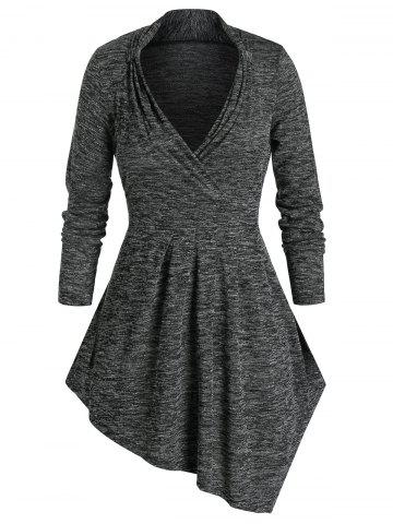 Plus Size Space Dye Marled Uneven Hem Tunic Tee