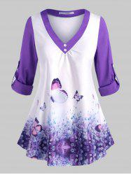 Plus Size Butterfly Print Roll Up Sleeve Top -