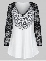 V Neck Printed Lace Raglan Sleeve T Shirt -
