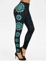 Skull Flower Print High Waist Pull On Leggings -